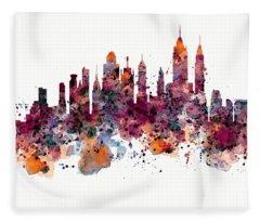 New York Skyline Watercolor Fleece Blanket