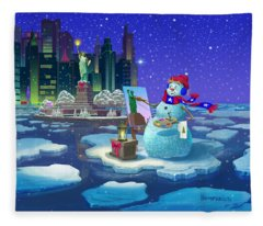 It's Christmas Time In The City Fleece Blanket