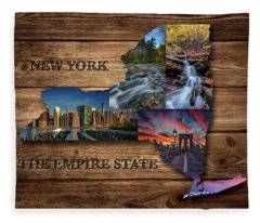 New York State Map Collage Fleece Blanket