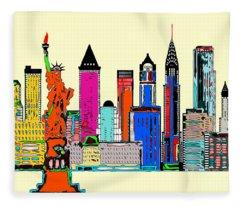 Fleece Blanket featuring the digital art New York - The Big City by Rafael Salazar