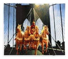 New York Brooklyn Bridge Fantasy Collage Fleece Blanket