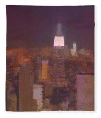 New York View Top Of The Rock  Fleece Blanket
