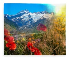 New Zealand Southern Alps Montage Fleece Blanket