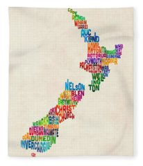 New Zealand Typography Text Map Fleece Blanket