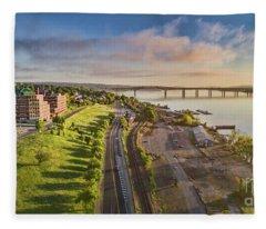 Newburgh Waterfront Looking North Fleece Blanket