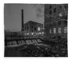 Night At The River 2 In Black And White Fleece Blanket