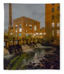 Night At The River Vertical Fleece Blanket