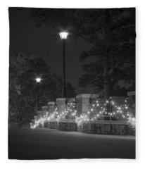 Night Bridge In December Fleece Blanket