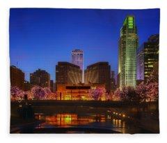 Night Cityscape - 2 - Omaha - Nebraska Fleece Blanket
