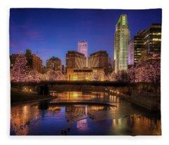 Night Cityscape - Omaha - Nebraska Fleece Blanket