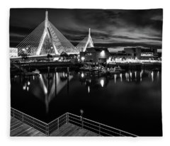 Night Falling On Zakim Bridge Fleece Blanket