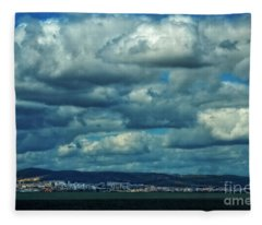 Night Falls On The Tagus River - Portugal Fleece Blanket