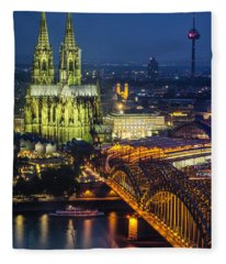 Night Falls Upon Cologne 1 Fleece Blanket