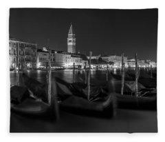 Night Gondola In Venice  Fleece Blanket
