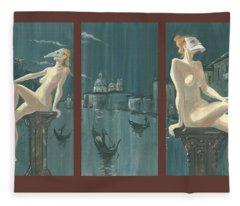 Night In Venice. Triptych Fleece Blanket