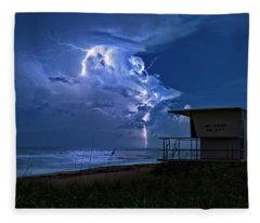 Night Lightning Under Full Moon Over Hobe Sound Beach, Florida Fleece Blanket