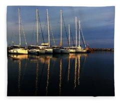 Night On Paros Island Greece Fleece Blanket