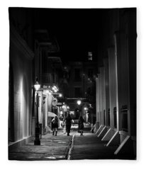 Night On Pirate Alley In Black And White Fleece Blanket