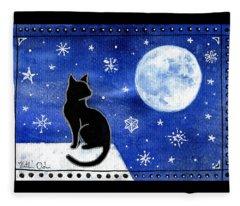 Night Patrol At Wintertime Fleece Blanket