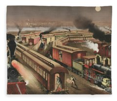 Night Scene At An American Railway Junction Fleece Blanket