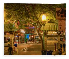 Night Scene Leaving Chinatown Fleece Blanket