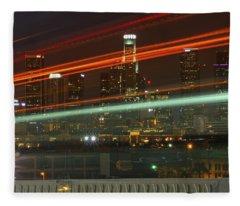 Night Shot Of Downtown Los Angeles Skyline From 6th St. Bridge Fleece Blanket