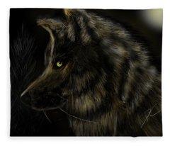 Night Silent Wolf Fleece Blanket