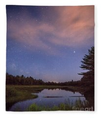 Night Sky Over Maine Fleece Blanket