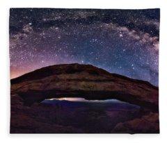 Night Sky Over Mesa Arch Utah Fleece Blanket