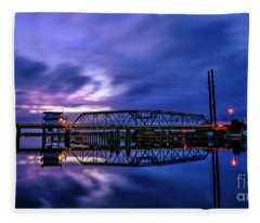 Night Swing Bridge Fleece Blanket