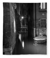 Night Time Canal In Venice Italy  Fleece Blanket