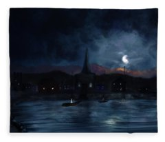 Night Upon The Village Fleece Blanket