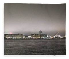 Night View Ocean City Downtown Skyline Fleece Blanket