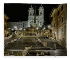 night walk in Rome to the Spanish Steps Fleece Blanket