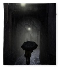 Night Walk In The Rain Fleece Blanket