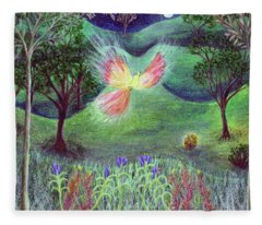 Night With Fire Bird And Sacred Bush Fleece Blanket