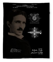 Nikola Tesla Patent Drawing Fleece Blanket