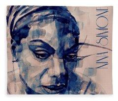 Nina Simone Art  Fleece Blanket