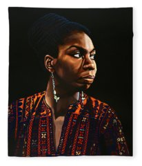 Nina Simone Painting Fleece Blanket