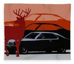 Nissan 210 With Deer 3 Fleece Blanket