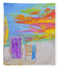 No Need For An Umbrella - Sunset At The Beach - Modern Impressionist Knife Palette Oil Painting Fleece Blanket