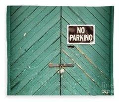 No Parking Warehouse Door Fleece Blanket