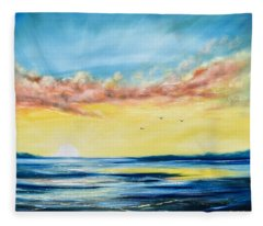 No Stress - Sunset Painting Fleece Blanket