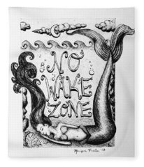 No Wake Zone, Mermaid Fleece Blanket