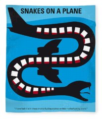 No501 My Snakes On A Plane Minimal Movie Poster Fleece Blanket