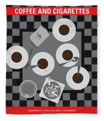 No808 My Coffee And Cigarettes Minimal Movie Poster Fleece Blanket