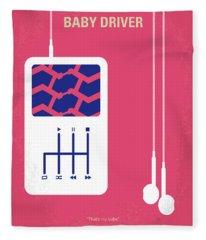 No872 My Baby Driver Minimal Movie Poster Fleece Blanket