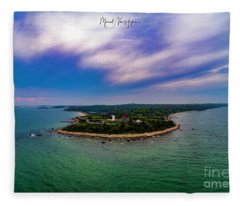 Nobska Lighthouse Panorama Fleece Blanket