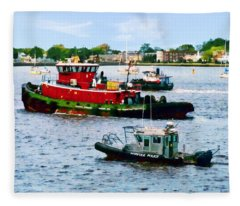 Norfolk Va - Police Boat And Two Tugboats Fleece Blanket