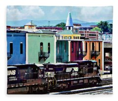 Norfolk Va - Train With Two Locomotives Fleece Blanket